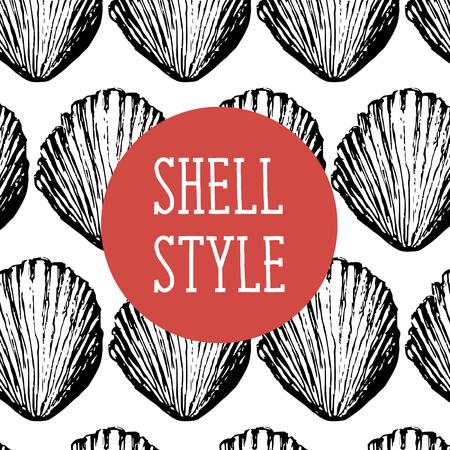 Shell Style Vector Pattern Brush Black Illustration Sea