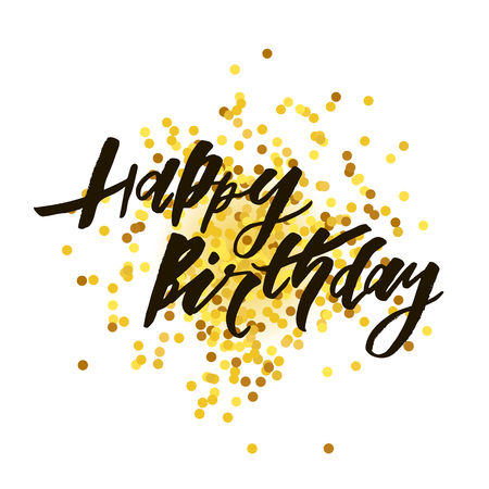Lettering with phrase Happy Birthday. Vector illustration. Gold lettering calligraphy brush Çizim