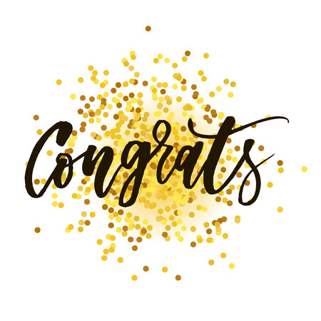 Congrats Vector Phrase Lettering Calligraphy Brush Black Text Gold