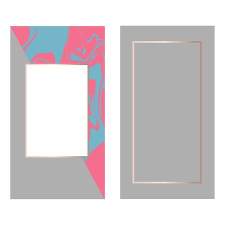 templates Frame square fluide art Gold Fashion Text