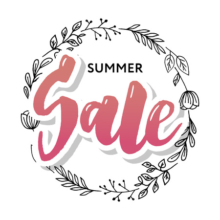 Summer Sale card template. Hand drawn lettering. Calligraphic element for your design. Vector illustration.