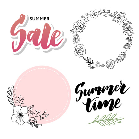 Summer Sale card template. Hand drawn lettering. Calligraphic element for your design. Sales, Holiday banner poster Çizim
