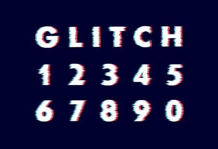 Trendy style distorted glitch typeface. Letters and numbers vector alphabet Ilustración de vector