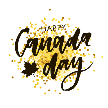 Canada Day Holiday Lettering Vector phrase Calligraphy Black Gold