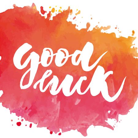 Lettering with phrase Good luck. Vector illustration. watercolor lettering calligraphy brush