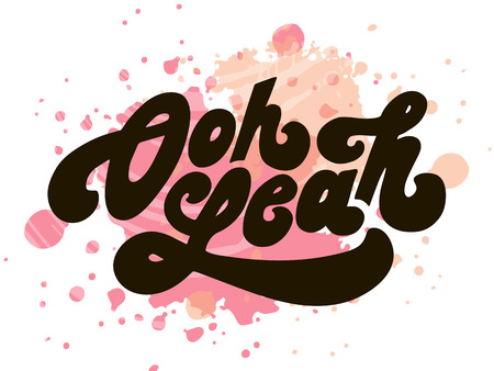 Lettering with phrase Oh yeah. Vector illustration. watercolor lettering calligraphy brush Çizim
