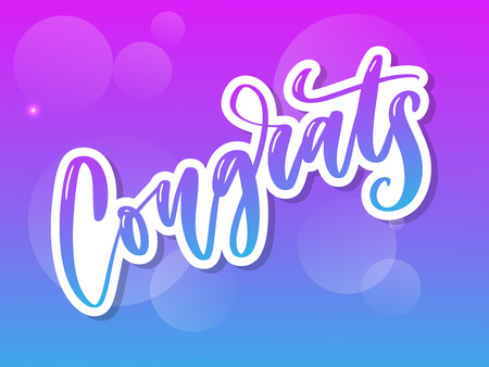 Congrats hand written lettering for congratulations card, greeting card, invitation, and print. Isolated on background. Vector illustration. 向量圖像