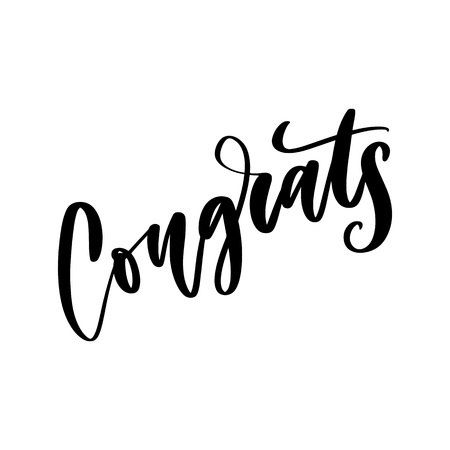 Congrats hand written lettering for congratulations card, greeting card, invitation, and print. Isolated on background. Vector illustration. Illusztráció