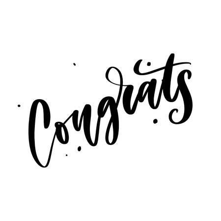 Congrats hand written lettering for congratulations card, greeting card, invitation, and print. Isolated on background. Vector illustration.