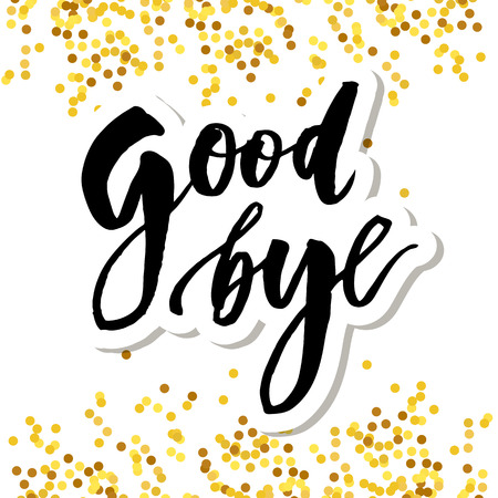 Goodbye Lettering Calligraphy Phrase Bye Vector Gold Illustration Banque d'images - 124626990