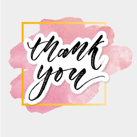 Thank you Watercolor Lettering Calligraphy Vector Illustration