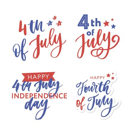 4th of July. Happy Independence day vector holiday lettering calligraphy Ilustrace
