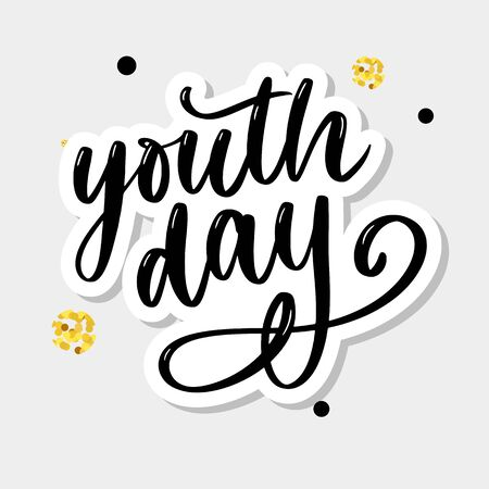 Lettering of International youth day yellow background Vettoriali