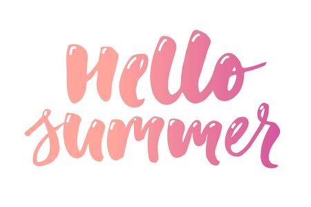 hello summer text lettering calligraphy phrase color white