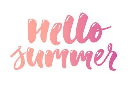 hola verano texto letras caligrafía frase color blanco