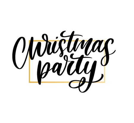 Christmas party poster template. Hand written lettering