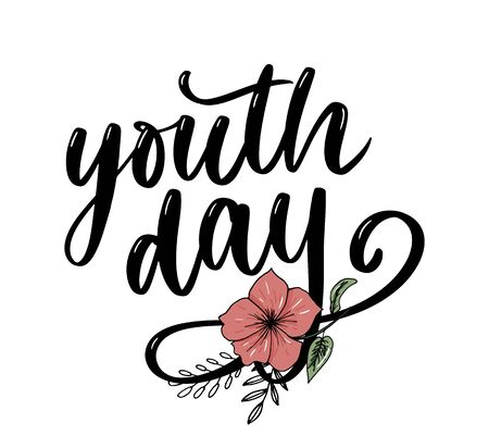 Lettering of International youth day yellow background