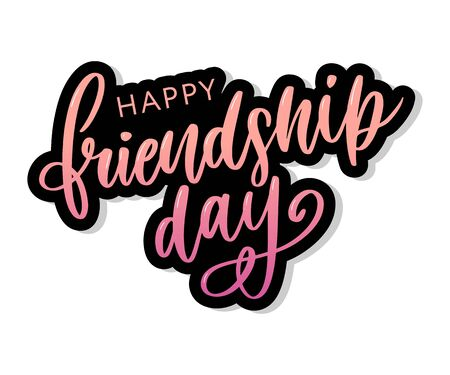Vector illustration of hand drawn happy friendship day felicitation in fashion style with lettering text sign and color triangle Banco de Imagens - 126881231