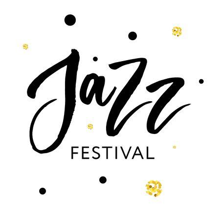 Jazz festival text lettering calligraphy black phrase gold Stock Illustratie