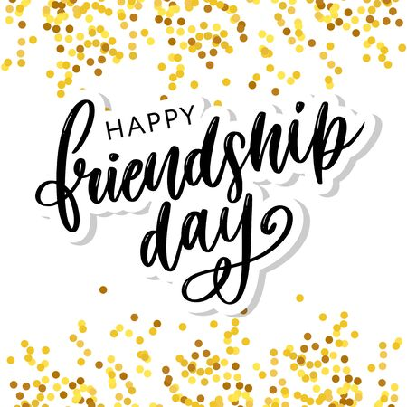 Vector illustration of hand drawn happy friendship day felicitation in fashion style with lettering text sign and color triangle