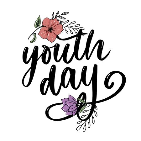 Lettering of International youth day yellow background Иллюстрация