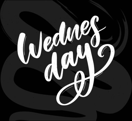 Wednesday words. Quote design. Hand drawn ink lettering. Sticker for social media content. Modern brush calligraphy. 向量圖像