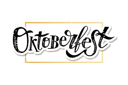 Oktoberfest lettering Calligraphy Brush Text Holiday Illustration  イラスト・ベクター素材