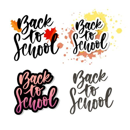 Set of Welcome back to school labels. School Background. Back to school sale tag. Vector illustration. Hand drawn lettering
