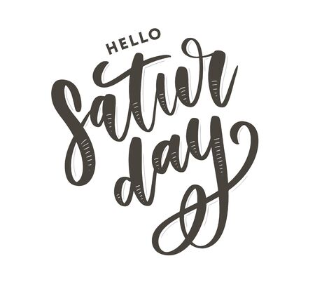Saturday logo template vector lettering calligraphy Çizim