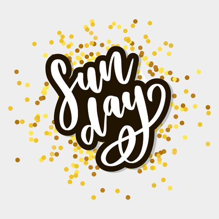 Sunday - Vector hand drawn lettering phrase. Modern brush calligraphy for blogs 向量圖像