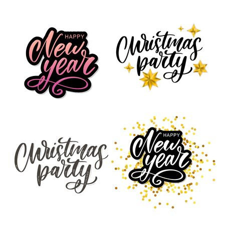 Christmas party poster template. Hand written lettering, sparkling typography. Çizim