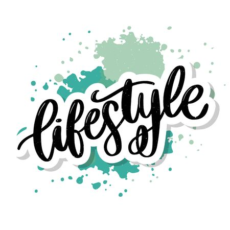 vector background lifestyle healthy food poster or banner with hand drawn fruits and Lettering text healthy lifestyle on green backdrop. Imagens - 129192733