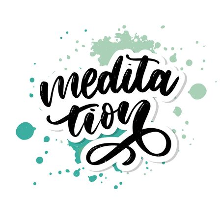 Vector illustration of My Therapy is meditation. Lettering poster for yoga studio and meditation class. Fun letters for greeting and invitation card, t-shirt print Çizim