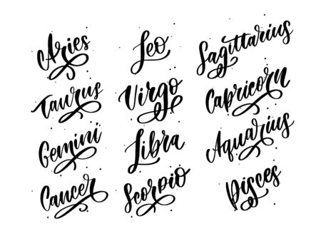 Zodiac lettering Vector Sign. Cartoon astrology text illustration. Horoscope handwritten