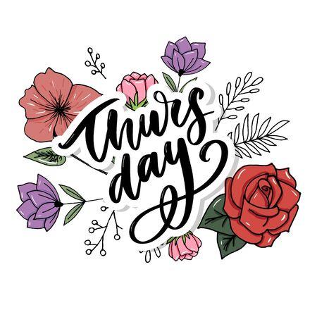 Thursday - Fireworks - Today, Day, weekdays calender Lettering Handwritten