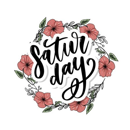 Saturday logo template vector lettering calligraphy  イラスト・ベクター素材