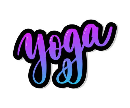 Yoga studio concept logo design. Elegant hand lettering for your design. Can be printed on greeting cards, paper and textile designs, etc