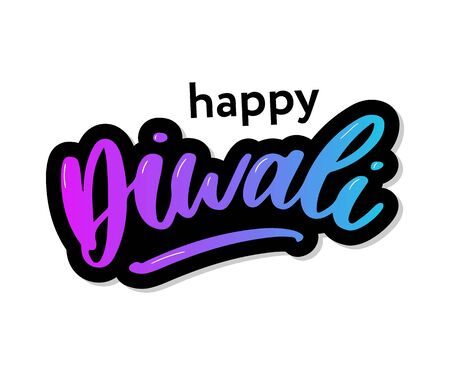 Happy Diwali. Handwritten brush black text, gold pinstripe. Beautiful lettering invitation, greeting, prints, posters. Typographic inscription, calligraphic design vector Illustration