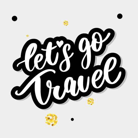 Travel set icons. Handwritten lettering vector illustration