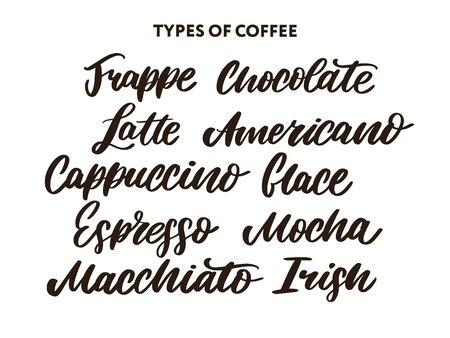 Arten von Kaffeezitaten und -titeln. Modernes Handlettering-Set