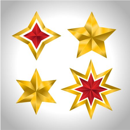 Vector illustration of 4 gold stars christmas new year holiday 3D icon