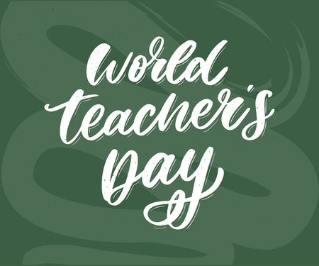 poster for world Teacher's Day lettering calligraphy brush vector Stock Vector - 129756304