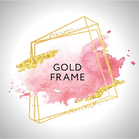 Gold frame paint Hand painted vector brush stroke. Perfect design for headline, logo and sale banner. Watercolor. Иллюстрация