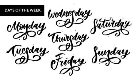 Vector manuscrito días de la semana y conjunto de símbolos. Fuente de tinta. Pegatinas para planificador y otros. Clipart