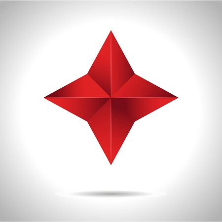 Gold red star vector illustration 3D art symbol icon