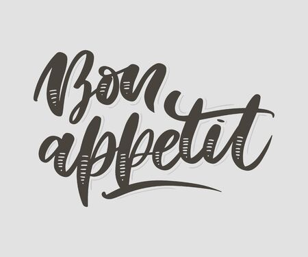 Bon appetit hand drawn lettering. Vector