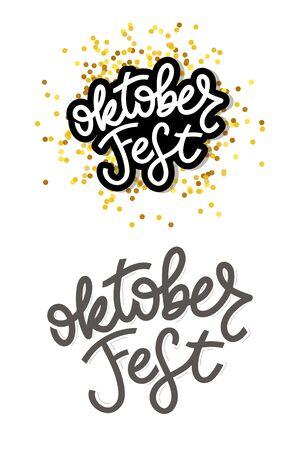 Oktoberfest handwritten lettering. Oktoberfest typography vector design for greeting cards and poster. Beer Festival vector banner. Design template celebration. Vector