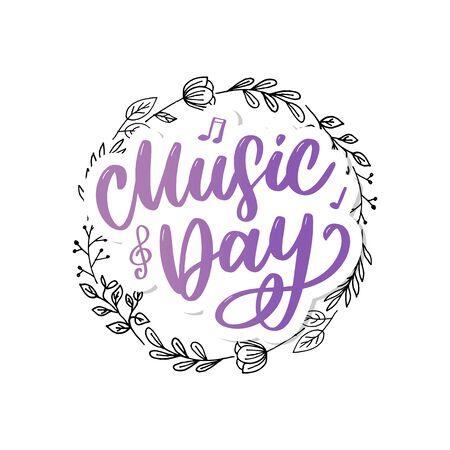 world music day lettering calligraphy brush logo