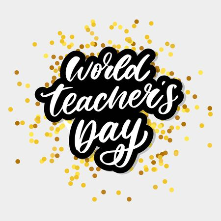 poster for world Teachers Day lettering calligraphy brush vector Иллюстрация