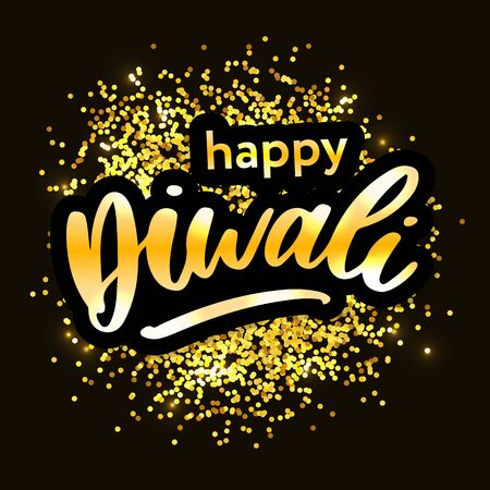 Happy Diwali. Handwritten brush black text, gold pinstripe. Beautiful lettering invitation, greeting, prints, posters. Typographic inscription, calligraphic design vector Çizim